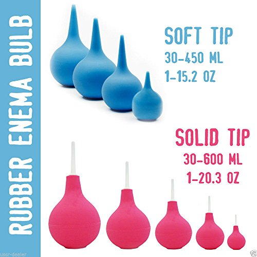 Rubber Enema Bulb Medical Douche Fountain Syringe (Soft/Solid Tips) (30-600ml) (90ml/3oz, Soft Tip)
