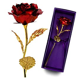 UniteStone 24K Gold Foil Artificial Rose Flower Birthday Gift, Mother Day Gift, Valentine's Day Gift, Anniversary Gift