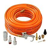 WYNNsky 3/8'×50ft PVC Air Hose With 10 Piece Air Compressor Kits, Air Blow Gun and Air Coupler Tools Accessory Kit