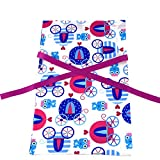 Princess Coaches Reusable Fabric Gift Bag For Birthday or Kids Celebration (Standard 10 Inches by 15 Inches)