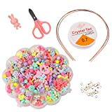 420PCS Jewelry Beads Toys DIY Jewelry for Children Colorful Necklace and Bracelet Crafts Set Ideal Gift for Kids in Your Holiday List with 36 Accessories (Style-2)