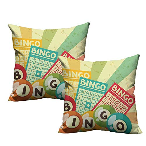 ZhiHdecor Custom Pillow Cases Vintage Decor,Bingo Game with Ball and Cards Pop Art Stylized Lottery Hobby Celebration Theme,Multi 18