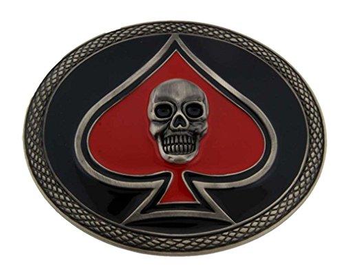 [Skull Belt Buckle Ace of Spade Tattoo Halloween Skeleton Grim Reaper Gothic Tribal Las Vegas Us] (Spade Buckle)