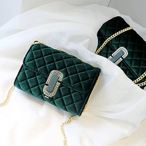 SQI Elegante bolsa de cadena, único bolso de hombro, bolsa de terciopelo, nueva moda femenina rhombus niña pequeña plaza bolsa,ricos y preciosos trompeta verde Rich Green número grande