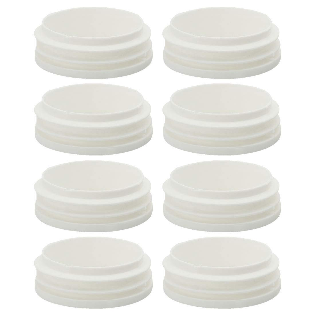uxcell/® 5//8 16mm OD Plastic Round Ribbed Tube Insert Pipe Tubing End Covers Caps White 8pcs 0.51-0.59 Inner Dia Furniture Glide Chair Feet Floor Protector