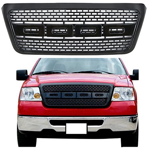 Haitzu Grille for Ford F150 2004-2008 Raptor Type Black Grill Front Bumper Hood Grille 2005 2006 2007 -