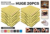 Ace Punch 20 Pack YELLOW Self Adhesive Wedge Acoustic Foam Panel DIY Design Studio Soundproofing Wall Tiles Sound Insulation with Free Mounting Tabs 19.6'' x 19.6'' x 0.8'' AP1054