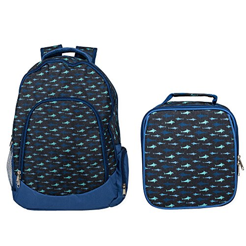Reinforced Water Resistant School Backpack and Insulated Lunch Bag Set (1, Shark Ocean Blue) ()