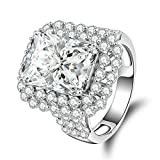 Gnzoe Jewelry, Women Wedding Ring Cushion Cut Square Cubic Zirconia, Customized Ring