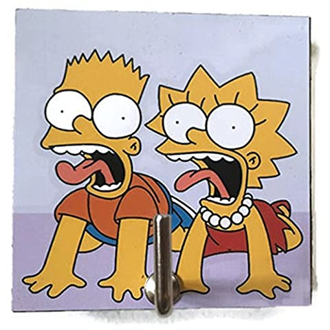Agility Bathroom Wall Hanger Hat Bag Key Adhesive Wood Hook Vintage The Simpsons Bart & Lisa Scared's (Strong Black Woman Murals)