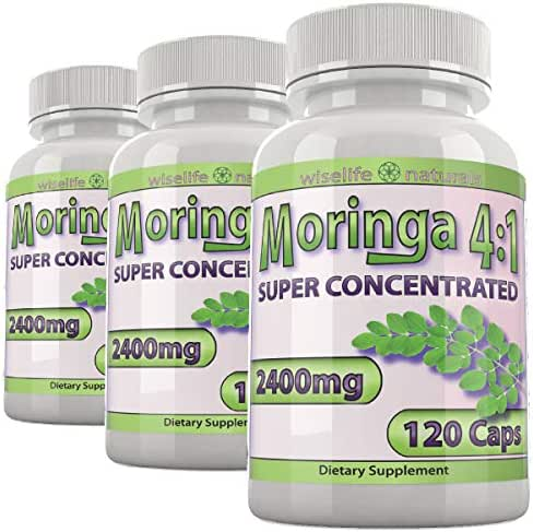 Moringa Extract Powdered Greens Capsules: 4X Nutrition of Leaf Moringa Capsules, Healhy Immune System Supplements Boost Powder Superfood Vegan B Supplement, Pre Workout for Women Weight Loss Bulk X3