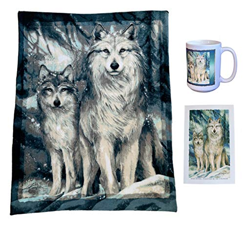 - Tapps Home Décor Line Wolf Theme Gift Set - 3 Items: Fleece Throw Blanket, Mug, and Greeting Card with Envelope