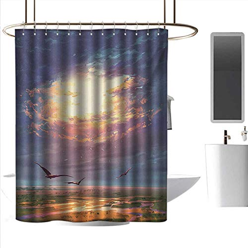 coolteey Shower Curtains Fabric White Fantasy,Golden Sun Beams Break Through Storm Clouds Skyline Flying Gulls Nature Imagery,Blue Orange,W36 x L72,Shower Curtain for Shower stall
