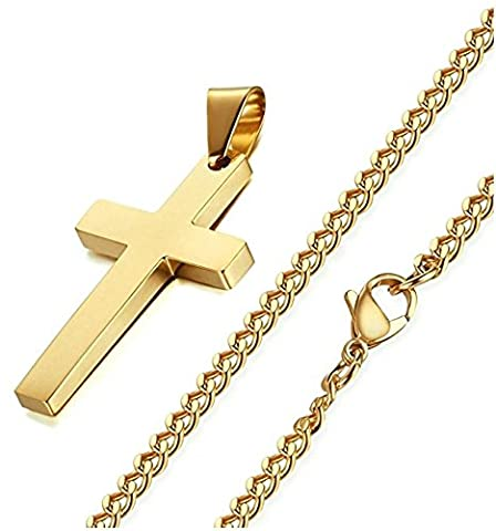 Cross Necklace Delux Gold Color Stainless Steel , 24 Inch Gold Curb Chain for Men Women Gold (Gold Cross Stainless Steel)