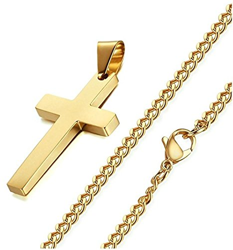 Cross Necklace Delux Gold Color Stainless Steel , 24 Inch Gold Curb Chain for Men Women Gold Necklace