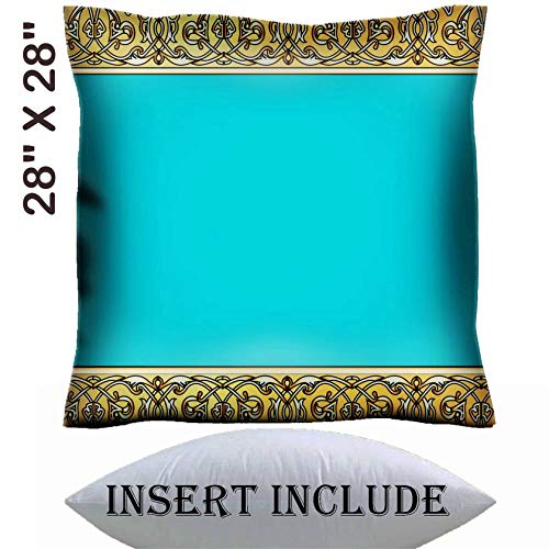 MSD 28x28 Throw Pillow Cover with Insert - Satin Polyester Pillow Case Decorative Euro Sham Cushion for Couch Bedroom Handmade Image ID 23902625 Illustration Background with a Strip Celtic Pattern of