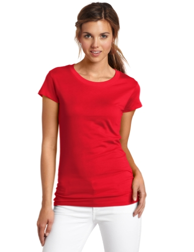 Dickies Girl Juniors Short Sleeve Crew Neck Tee,Red,Medium
