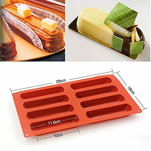 SuperStores Silicone Classic Collection Shapes finger Non Stick Eclair 8 Forms Silicone Baking Mold Random Color.