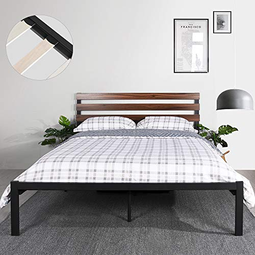 GreenForest Bed Frame Full Size with Wooden Headboard and Wood Slat Support Metal Platform Mattress Foundation No Box Spring Needed and Noise-Free