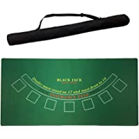 71 X 35 Inch Portable Layout Poker Mats- Blackjack Casino, High-Quality Polyester,Water-Resistant, Easy Cleaning, Non-Slip Rubber, with Storage Bag