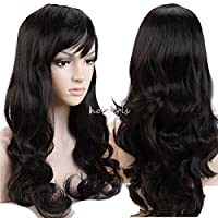 "S-noilite Long Wavy Natural Black Full Wigs with Side Bang Traje de pelo sintético resistente al calor /Pelucas de cosplay150% Denisty para damas negras (Natural Black 19 "")"