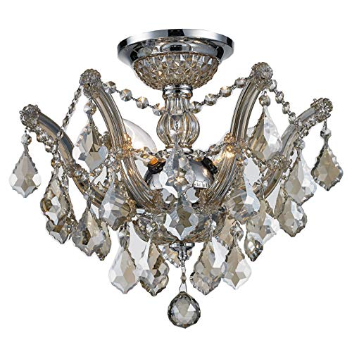 Worldwide Lighting Bayou Collection 3 Light Chrome Finish and Golden Teak Crystal Semi-Flush Mount Ceiling Light 16