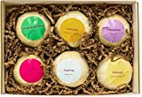 Bath Bombs Gift Set - 6 Shea Butter Bath Fizzies made from Organic & Natural Ingredients with Natural Aromatherapy & Wellness Essential Oil Blends