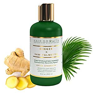 STEP 2: Natural Hair Growth Shampoo For Hair Loss and Hair Thinning Prevention - Lab Formulated Alopecia and DHT Blocking Ginger - Saw Palmetto 10.z Oz