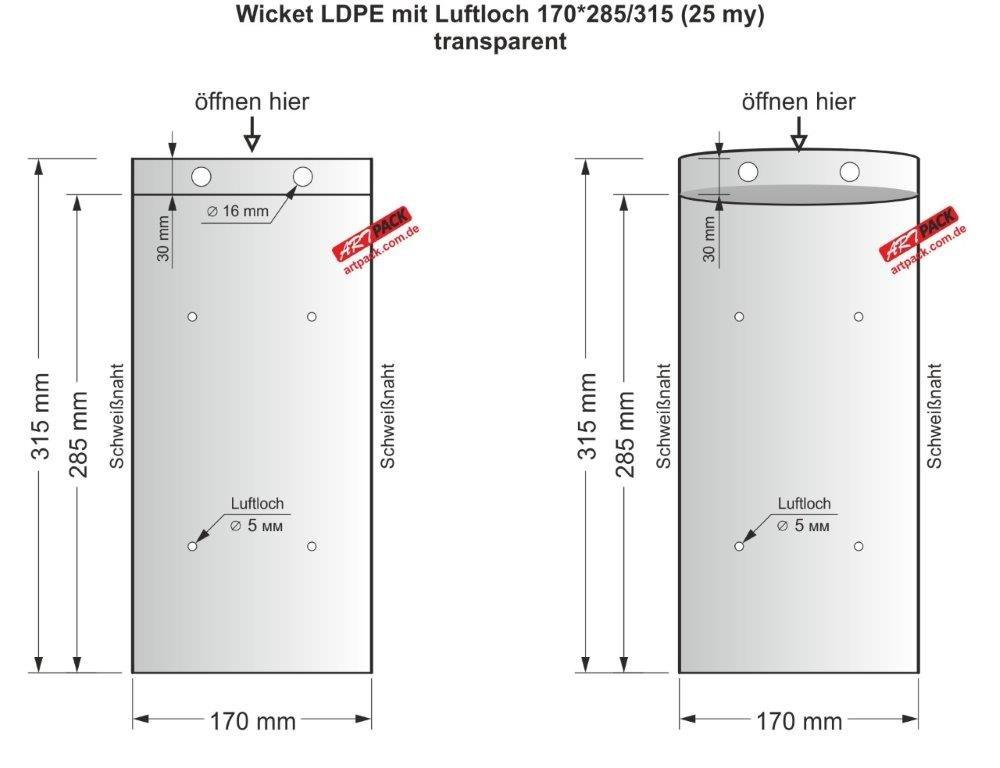 500 Stü ck (auch 100 oder 300 St.) ARTPACK LDPE Wicket Flachbeutel transparent 170 x 285 mm (25my) PE plastik beutel Tü tchen ARTPACK GmbH