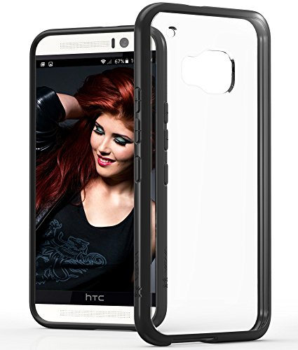 HTC One M9 Case, VENA [RETAIN] Slim Fit Hybrid Case with Shockproof TPU Bumper Clear Back Cover for HTC One M9 (Black)
