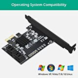 N N.ORANIE PCIe 2.0 x 1 to SATA III 4 Ports Adapter Card Marvell Chipset Non-Raid for IPFS Mining and Adding SATA 3.0 Devices