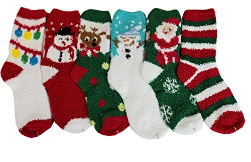 Best Differenttouch 6 Pairs Pack Super Soft Cozy Fuzzy Winter Slipper Socks (9-11, Christmas
