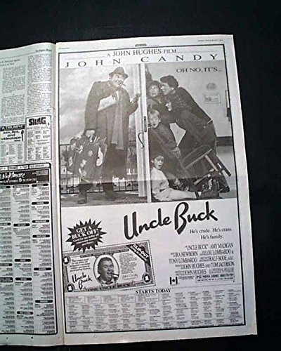 Opening Day Poster (Best UNCLE BUCK Film Movie Opening Day Poster Size AD 1989 Los Angeles Newspaper LOS ANGELES TIMES, August 16, 1989)