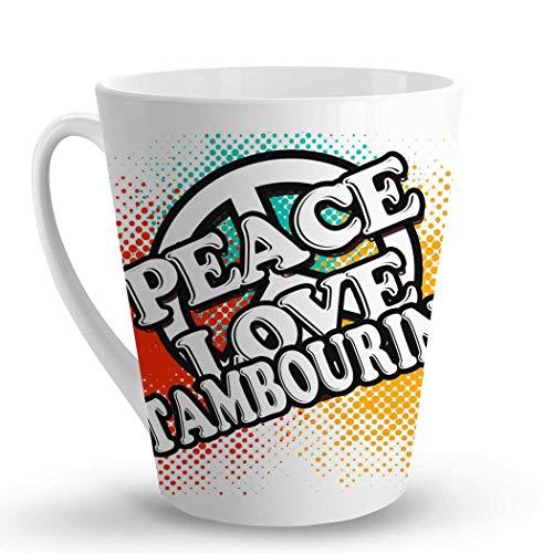 Makoroni - PEACE LOVE TAMBOURINE Music - 12 Oz. Unique LATTE MUG, Coffee ()