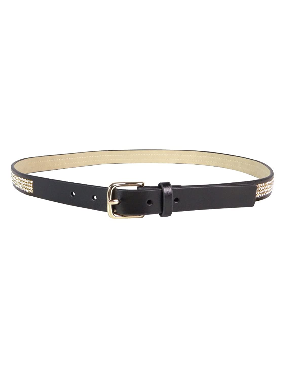 Style & Co. Women's Silver Gold Diamond Rhinestone Inlay Faux Belt Black