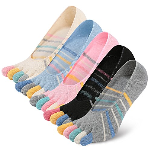 NO Show Running Five Fingers Crew Ankle Toe Socks for Women Ladies (one size, 5 -