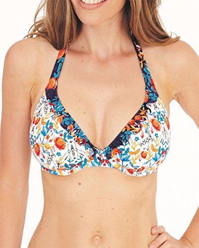 Lepel Paradise Plunge Halter Bikini Top, 32F, Cream Navy