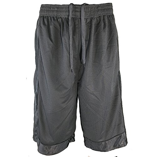P5 Apparel Mens Tall Athletic Shorts Long Basketball Shorts – Elastic Waist Shorts with Pockets and Drawstring (XXX-Large, Dark ()