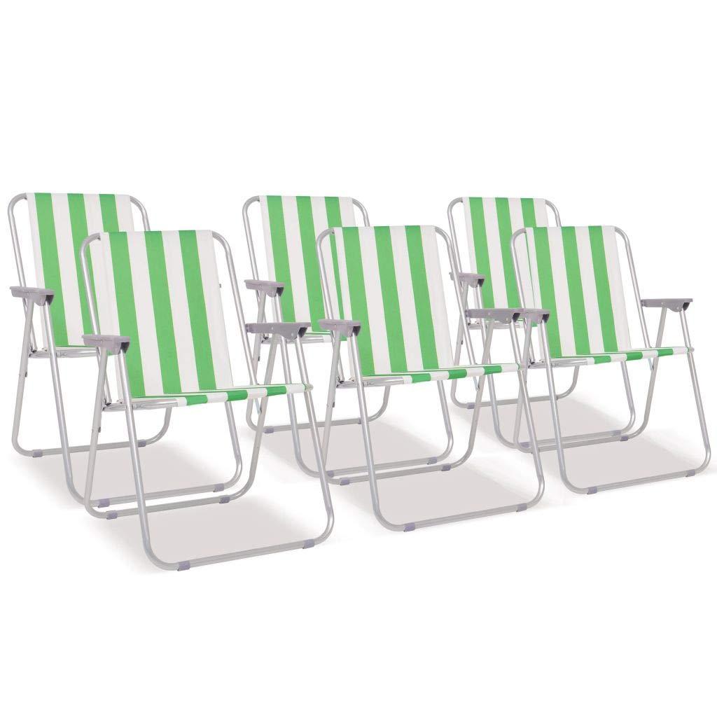 Festnight Campingstühle Klappbaren 6 STK. Grün und Weiß Farbenfrohes Streifenmuster Stahl
