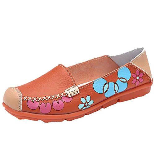 Hattie Women Casual Soft Leather Slip-on Loafers Flats for Walk Drive Orange GlTDJpj