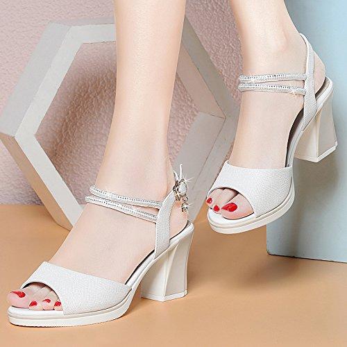 RUGAI-UE Tacones, zapatos de tacón alto, sandalias de señoras de moda de verano, sandalias de damas. Pink