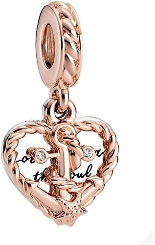 Pandora Anchor, Sailing Rope and Heart Charm Pendant Rose: Amazon ...