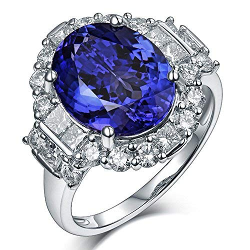 (Solid 18K White Gold Natural Diamonds Tanzanite Oval Cut Engagement Ring)