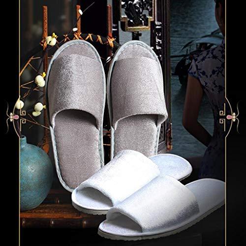 Desechables White De El Pairs Unisex Para Hogar Zpf Clubhouse Oro Hotelería Zapatillas Hotel 11 28 Belleza Habitación Terciopelo 10 5 Cm wXtxX5