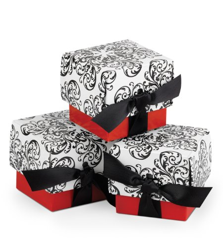 Wedding Filigree (Hortense B. Hewitt Wedding Accessories Favor Boxes, Black and White Filigree with Red, 25-Pack)