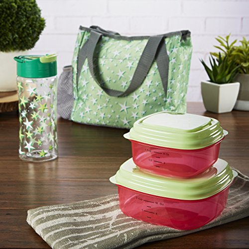 Fit   Fresh Tracey Insulated Lunch Bag Set With Reusable Containers And Matching 16 Oz Water Bottle  Mint Green Night Sky