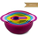 TrueCraftware 8 Piece Nesting Mixing Bowl Set - Non Slip Bowls - Bowl, Colander, Sifter, Bowl with Spout and 4 Measuring Cups - Rainbow Mixing Bowl Set - Colorful Mixing Bowl and Measuring Cup Set