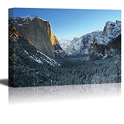 Canvas Prints Wall Art - Yosemite National Park in Winter Tunnel View| Modern Home Deoration/Wall Art Giclee Printing Wrapped Canvas Art Ready to Hang - 32