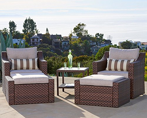 Cheap Solaura Outdoor 5-Piece Lounge Chair & Ottoman Furniture Set All Weather Brown Wicker with Beige Waterproof Cushions & Sophisticated Glass Coffee Side Table | Patio, Backyard, Pool