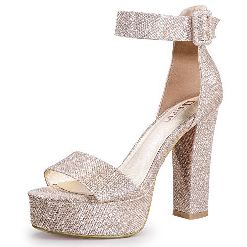 - IDIFU Women's IN5 Sabrina Ankle Strap Platform High Chunky Heels Party Sandal (Gold Glitter, 8 B(M) US)